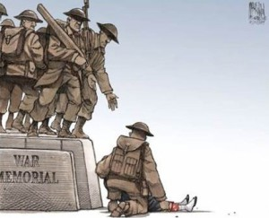 Editorial Cartoon depicting war memorial soldier reaching a hand out in aid of Cpl. Nathan Cirillo
